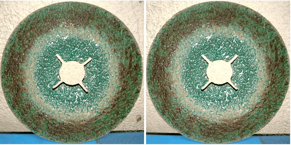 Фотографии фибрового диска AF799 до и после заключительного шага обработки
