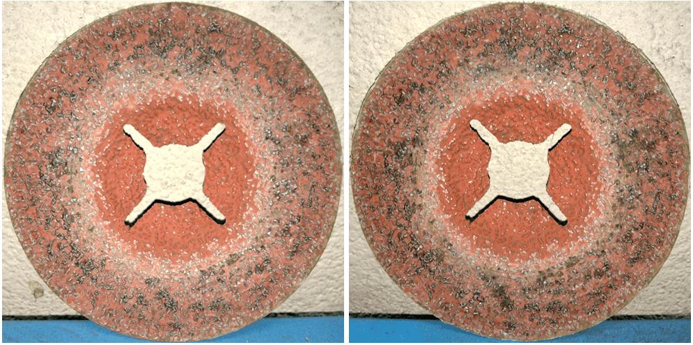 Фотографии фибрового диска 987С до и после заключительного шага обработки