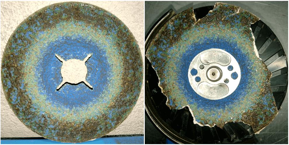 Фотографии фибрового диска VICTOGRAIN до и после заключительного шага обработки